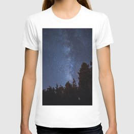 Starry night with the Milky Way in a pine forest T-shirt