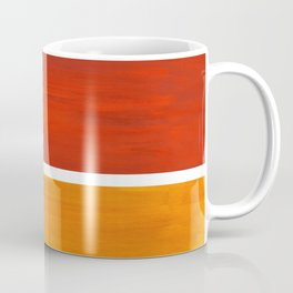 Burnt Orange Yellow Ochre Mid Century Modern Abstract Minimalist Rothko Color Field Squares Coffee Mug