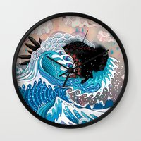custom Wall Clocks featuring The Unstoppabull Force by Mat Miller