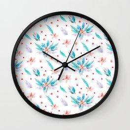 Pastel coral teal watercolor floral polka dots pattern. Wall Clock