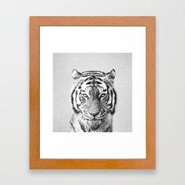 Tiger - Black & White Framed Art Print