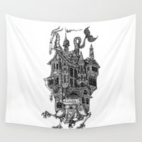 library Wall Tapestries featuring the wandering library by vasodelirium