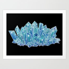 Blue/Green Crystal Cluster Art Print