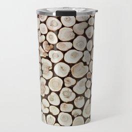 Background of wooden slices tree Travel Mug