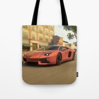 lamborghini Tote Bags featuring Lamborghini Aventador Speed (Forza) by N_Cvetty