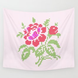 Embroidered red rose Wall Tapestry