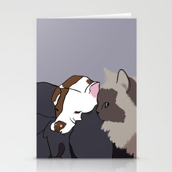 A Pit Bull and Her Kitty Stationery Cards
