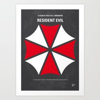 resident evil Art Prints featuring No119 My RESIDENT EVIL minimal movie poster by Chungkong