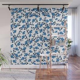 Blue Flower Pattern #2 #spring #floral #decor #art #society6 Wall Mural