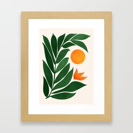 Tropical Forest Sunset / Mid Century Abstract Shapes Framed Art Print
