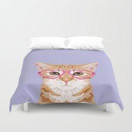 Mackenzie - Orange Tabby Cute Hipster Glasses Kitten Lavender Pastel Girly Retro Cat Art cell phone Duvet Cover
