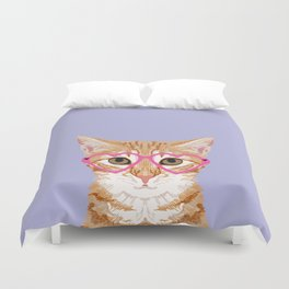 Mackenzie - Orange Tabby Cute Hipster Glasses Kitten Lavender Pastel Girly Retro Cat Art cell phone Duvet Cover