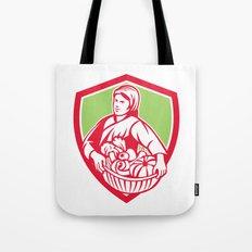 Female Organic Farmer Basket Harvest Shield Retro Tote Bag
