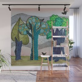 Blue trees Wall Mural
