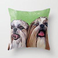 shih tzu Throw Pillows featuring Shih Tzu Dog Art by WOOF Factory