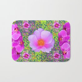 Yellow Pattern Pink Roses & Purple Orchids Abstract Bath Mat