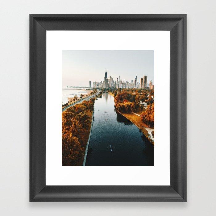 chicago aerial view Gerahmter Kunstdruck