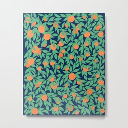 Oranges and Leaves Pattern - Navy Blue Metal Print