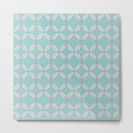 Seamless Leaves Pattern Turquois Metal Print
