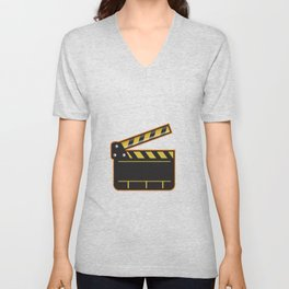 Movie Camera Slate Clapper Board Open Retro Unisex V-Neck