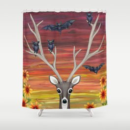 White Tailed Deer Bats Black Eyed Susans Shower Curtain