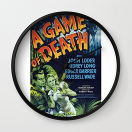 A Game of Death, vintage horror movie poster Wall Clock