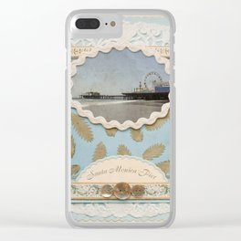 Vintage Santa Monica Pier faux Scrapbooking Design Clear iPhone Case