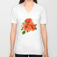 poppies V-neck T-shirts featuring Poppies by Heaven7