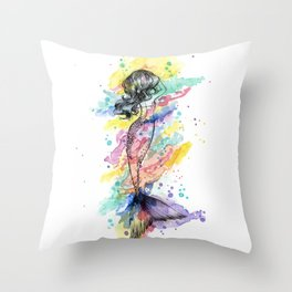 Splash Rainbow Mermaid Throw Pillow