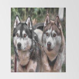 Siberian Huskys Throw Blanket