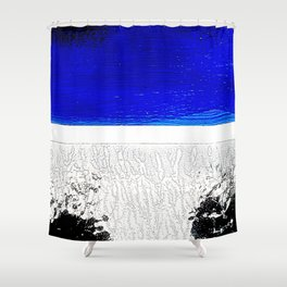 Blue river and a white landscape Shower Curtain