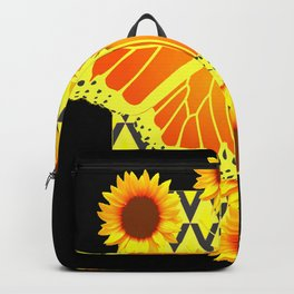 SUNFLOWERS & MONARCH BUTTERFLY BLACK GRAPHIC Backpack