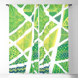 Geometric doodle pattern - green and yellow Blackout Curtain