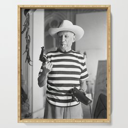 Pablo Picasso With A Gun, home decor , vintage photography, icon , print, photography, wall art, famous artist , Serving Tray