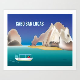 Cabo San Lucas, Mexico - Skyline Illustration by Loose Petals Art Print