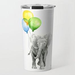 Elephant Watercolor Baby Animal with Balloons Blue Yellow Green Travel Mug