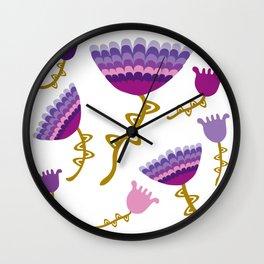 Florets Plum Wall Clock