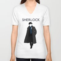 johnlock V-neck T-shirts featuring Sherlock Holmes by Amélie Store