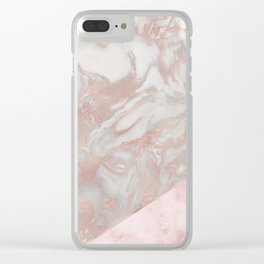 Pink marble & french polished rose gold marble Clear iPhone Case