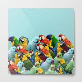 Sky blue parrots home decor Metal Print