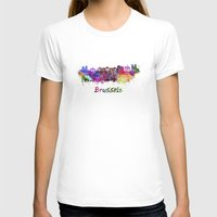 brussels T-shirts featuring Brussels skyline in watercolor by Paulrommer