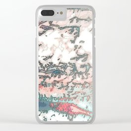 Red, Teal & Blush Foliage Clear iPhone Case