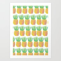 pinapple Art Prints featuring Pinapple PePe by Jessica Soparlo