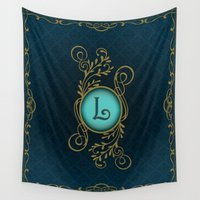 monogram Wall Tapestries featuring Monogram L by Britta Glodde