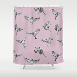 Birds in Flight in Pink and Grey Shower Curtain