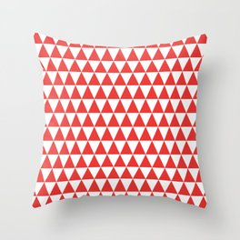 Poppy Red and White Triangle Pattern Throw Pillow