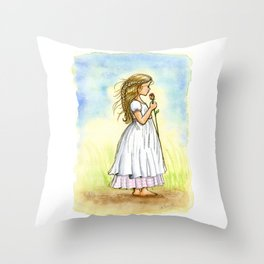 Rose Girl Pillow -  Vintage Inspired Rose Girl Painting Throw Pillow