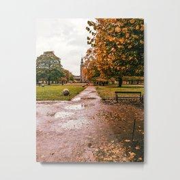 Photograph of Cloudy Autumn Day at the Rosenborg Castle in Copenhagen, Denmark Metal Print