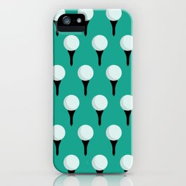 Golf Ball & Tee Pattern (Green) iPhone Case