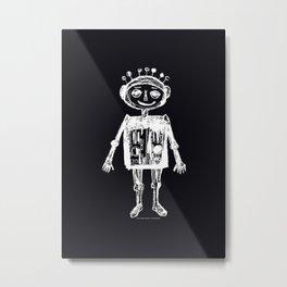 Little robot black-white illustration Metal Print